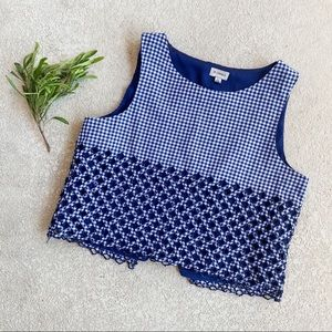 Cremieux Blue Gingham Scalloped Crop Top